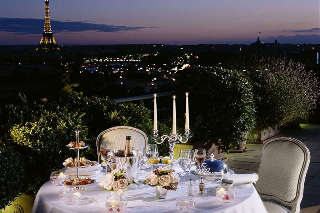 The Royal Belle Etoile Suite terrace with Eiffel Tower view