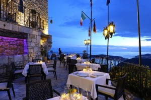 Restaurant terrace in the evening