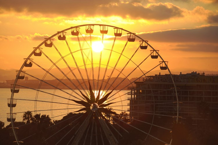Sunset over the Promenade des Anglais in Nice