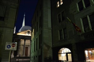 Les Armures façade by night