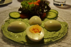 Egg with sauce (local special)