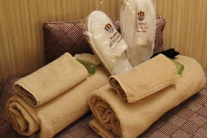 Slippers and towels for the treatment