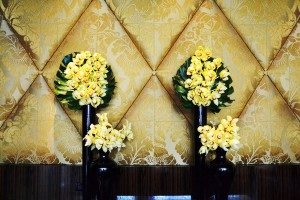 Fresh orchids in the lower lobby