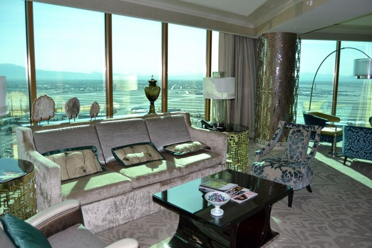 Living room with McCarran Airport view