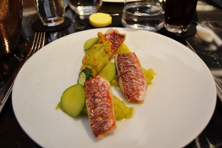 red mullet with zucchini marmalade