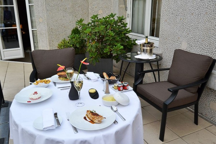 Room service dinner on the Prince de Galles suite terrace