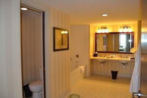 The bathroom bathtub side