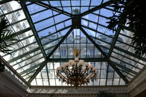The glass pyramid atrium