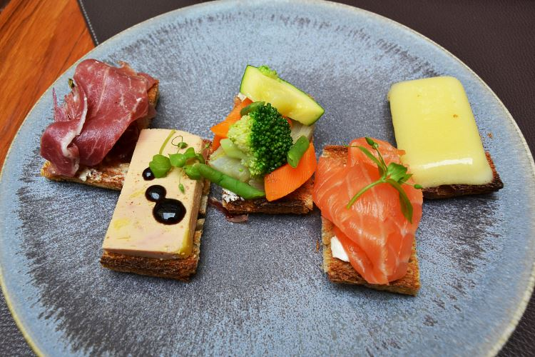The Selection of Sandwiches : pata negra, foie gras, vegetables, smoked salmon and mature Comté