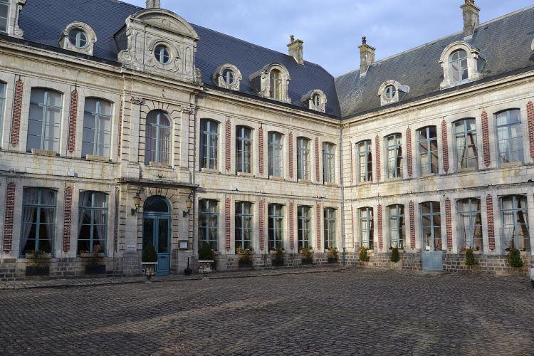 The beautiful paved courtyard
