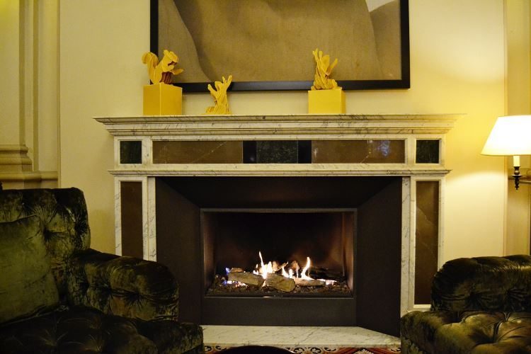 Luxury hotel scribe Paris fireplace