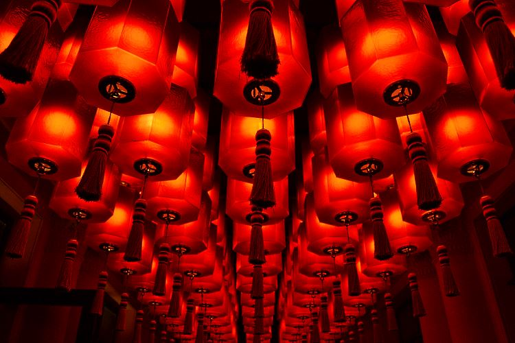 Red Asian Lanterns Buddha Bar Paris