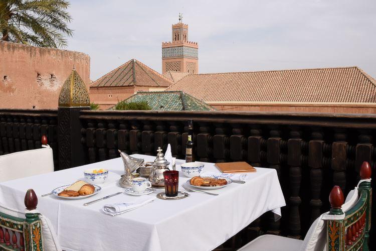 La Sultana Marrakesh breakfast table