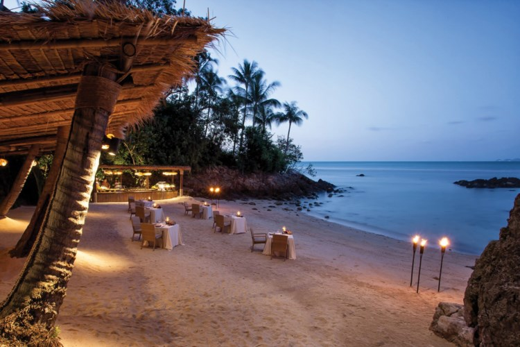 Four Seasons Resort Koh Samui - Le restaurant sur la plage