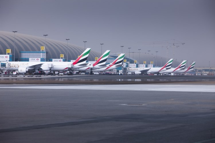 Les pistes de l'aéroport international de Dubaï