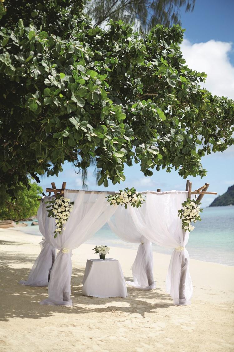 Raffles Praslin - Wedding setup on the beach