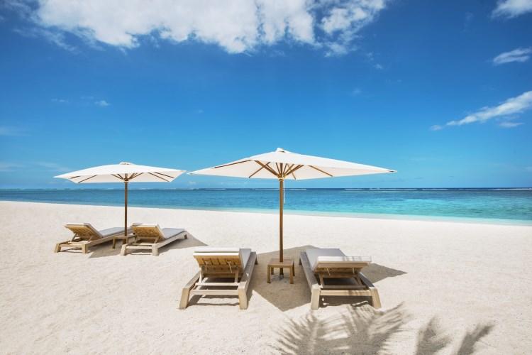La plage de l'hôtel St Regis à l'île Maurice